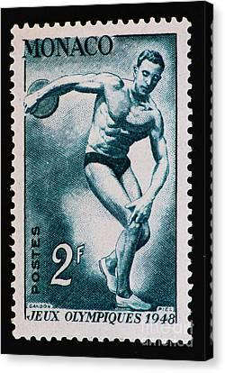Discus Vintage Postage Stamp Print Canvas Print by Andy Prendy