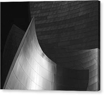 Disney Hall Abstract Black And White Canvas Print by Rona Black