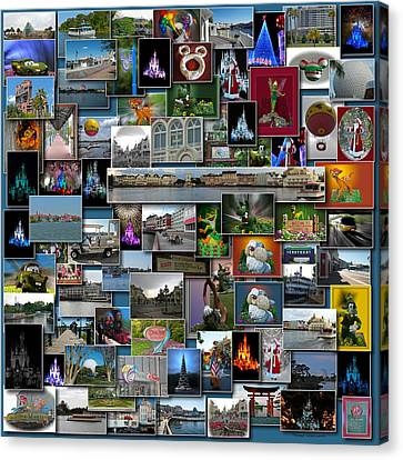 Disney World Collage Square Canvas Print by Thomas Woolworth