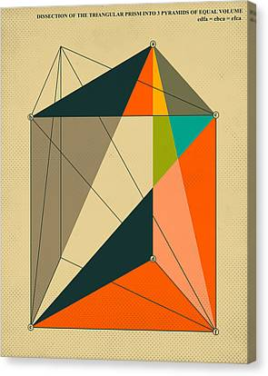 Dissection Of The Triangular Prism Into 3 Pyramids Of Equal Volume Canvas Print by Jazzberry Blue