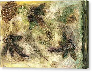 Rustic Dragonflies Autumn Canvas Print by Lyndsey Hatchwell