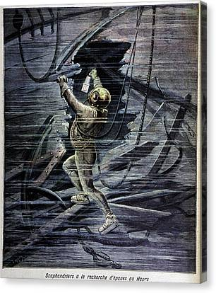 Diver Examining A Shipwreck Canvas Print by Cci Archives