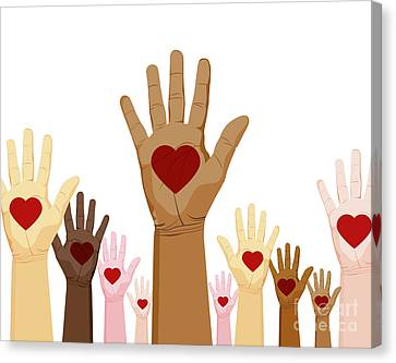 Diversity Hands Canvas Print by John Takai