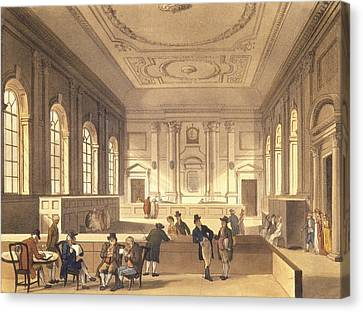 Dividend Hall At South Sea House Canvas Print by T Rowlandson