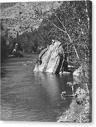 Diving At The Swimming Hole Canvas Print by Underwood Archives