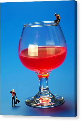 Diving In Red Wine Little People Big Worlds Canvas Print by Paul Ge