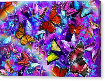 Dizzy Colored Butterfly Explosion Canvas Print by Alixandra Mullins