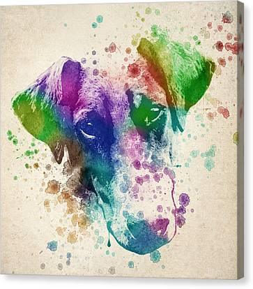 Doberman Splash Canvas Print by Aged Pixel