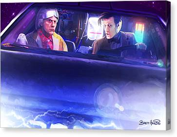 Doc Doctor And The Delorian Canvas Print by Brett Hardin