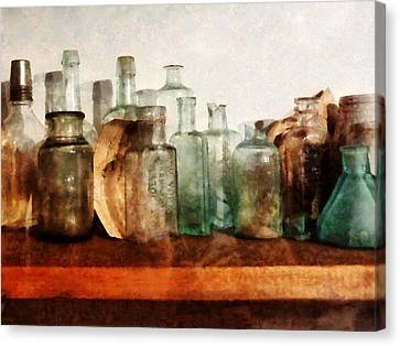 Doctor - Row Of Medicine Bottles Canvas Print by Susan Savad