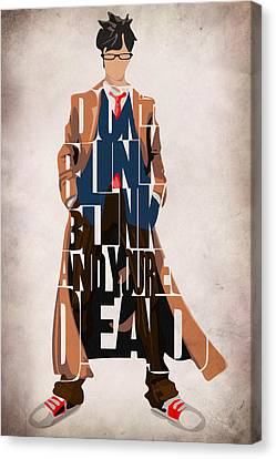 Doctor Who Inspired Tenth Doctor's Typographic Artwork Canvas Print by Ayse Deniz