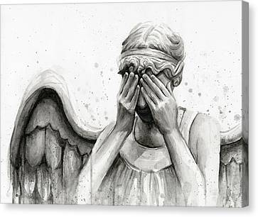 Doctor Who Weeping Angel Don't Blink Canvas Print by Olga Shvartsur