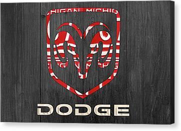 Dodge Vintage Logo License Plate Art Canvas Print by Design Turnpike