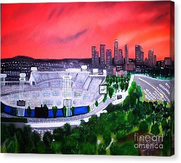 Dodger Stadium / Los Angeles Skyline Canvas Print by Israel  A Torres