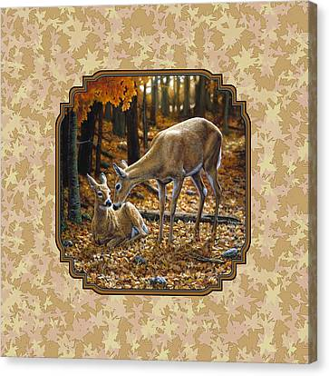 Doe And Fawn Autumn Leaves Pillow And Duvet Cover Canvas Print by Crista Forest