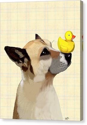 Dog And Duck Canvas Print by Kelly McLaughlan