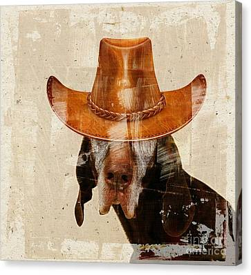 Dog Personalities 01 Cow-boy Canvas Print by Variance Collections