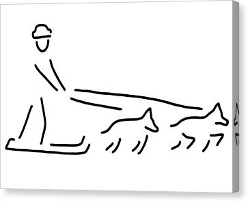 Dog Sledges Run Sledge Dogs Canvas Print by Lineamentum