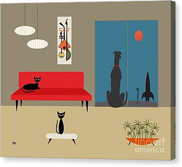 Dog Spies Alien Canvas Print by Donna Mibus