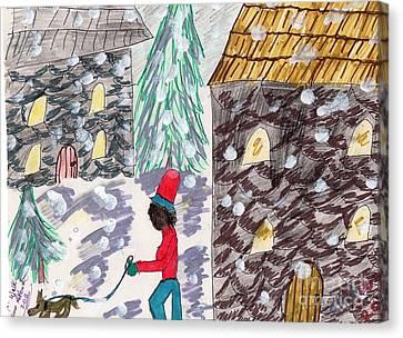 Dog Walk In The Snow Canvas Print by Elinor Rakowski