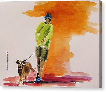 Dog Walker Canvas Print by John  Williams