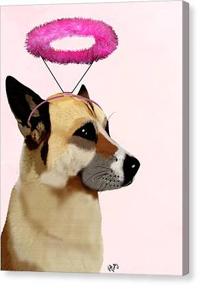 Dog With Pink Halo Canvas Print by Kelly McLaughlan