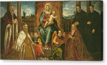 Doge Alvise Mocenigo And Family Before The Madonna And Child Canvas Print by Jacopo Robusti Tintoretto