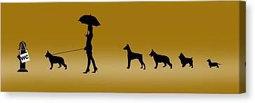 Doggie Queue Canvas Print by Peter Stevenson