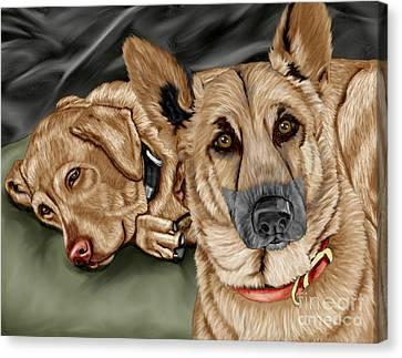 Dogs Canvas Print by Karen Sheltrown