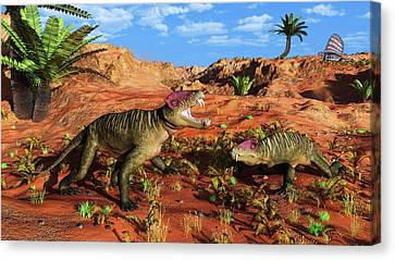 Doliosauriscus Therapsids Canvas Print by Walter Myers