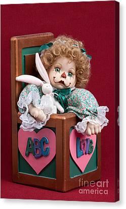 Doll Clown In Box Canvas Print by Cindy Singleton