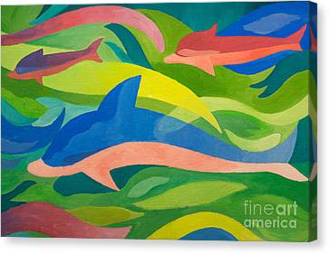 Dolphins Painting Canvas Print by Lutz Baar