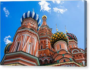 Domes Of The Vasily The Blessed Cathedral - Featured 2 Canvas Print by Alexander Senin