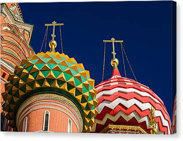 Domes Of Vasily The Blessed Cathedral - Feature 3 Canvas Print by Alexander Senin