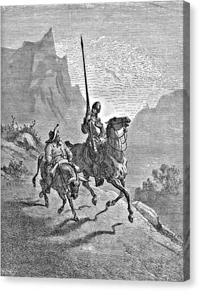 Don Quixote And Sancho Panza Illustration Canvas Print by Gustave Dore
