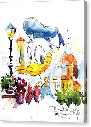 Donald Duck In Florence Italy Canvas Print by Andrew Fling