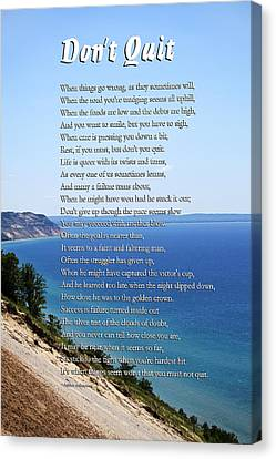 Don't Quit Inspirational Poem Canvas Print by Christina Rollo