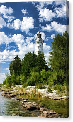 Cana Island Lighthouse Cloudscape In Door County Canvas Print by Christopher Arndt