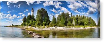 Door County Cana Island Lighthouse Panorama Canvas Print by Christopher Arndt
