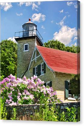 Door County Eagle Bluff Lighthouse Lilacs Canvas Print by Christopher Arndt