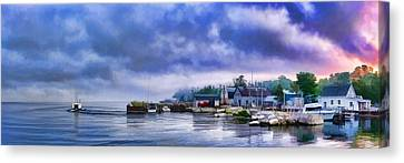 Door County Gills Rock Morning Catch Panorama Canvas Print by Christopher Arndt