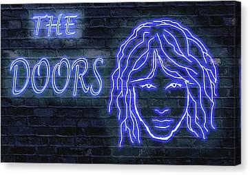 Doors Neon Canvas Print by Michael Cleere