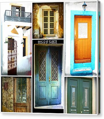 Doors Of Greece Collage Canvas Print by Therese Alcorn