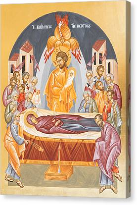 Dormition Of The Theotokos Canvas Print by Julia Bridget Hayes