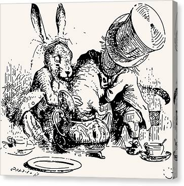 Dormouse In The Teapot Mad Tea Party Canvas Print by John Tenniel