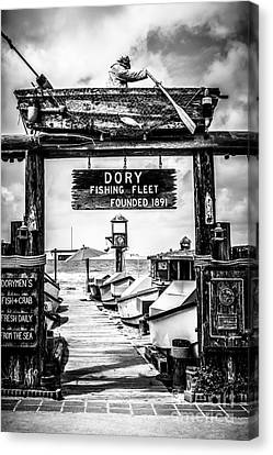 Dory Fishing Fleet Market Black And White Picture Canvas Print by Paul Velgos