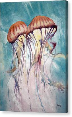 Dos Jellyfish Canvas Print by Jeff Lucas