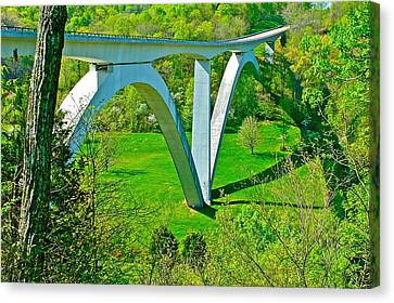 Double-arched Bridge Spanning Birdsong Hollow At Mile 438 Of Natchez Trace Parkway-tennessee Canvas Print by Ruth Hager