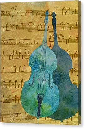 Double Bass Score Canvas Print by Jenny Armitage