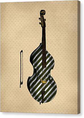 Double Bass Vintage Illustration Canvas Print by Flo Karp